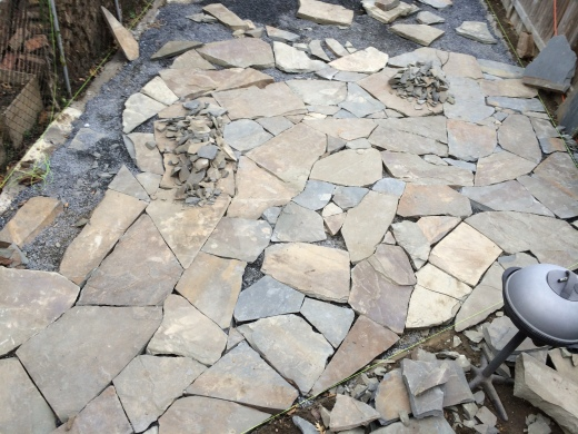 In progress patio made of Pennsylvania stepper stones